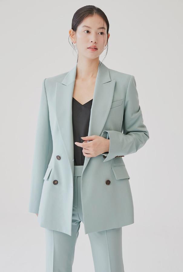 YVONNE Slim double breasted blazer (Mint)