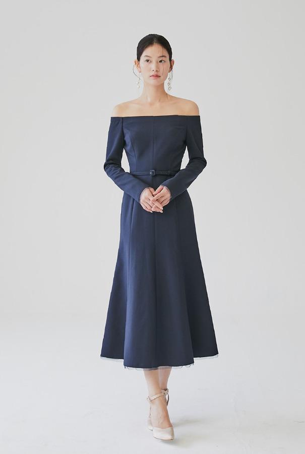 [11/4 예약배송]BRIANA Off-shoulder long sleeve semi mermaid dress (Deep navy)