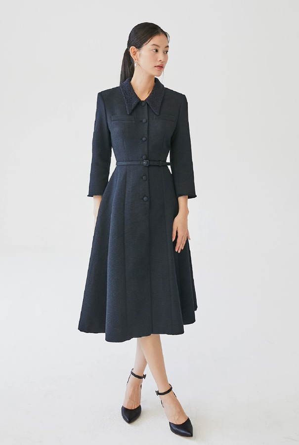 VIOLET Button-down detailed tweed dress (Deep Navy)
