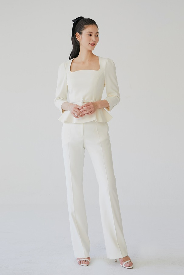 YVONNE Straight-fit trousers (Ivory)