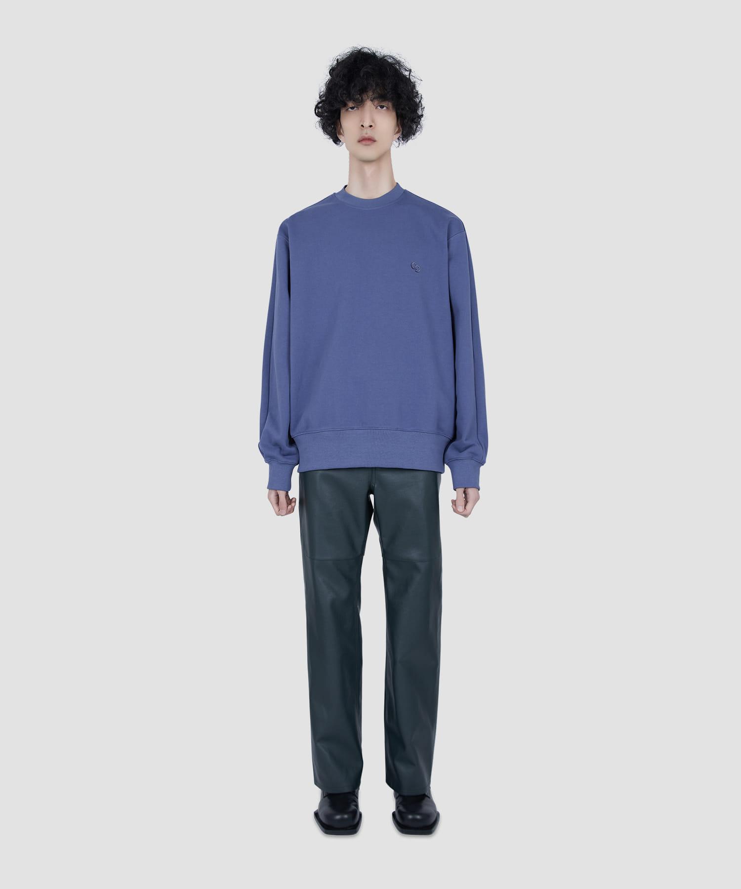 블루 로고 자수 스웨트셔츠