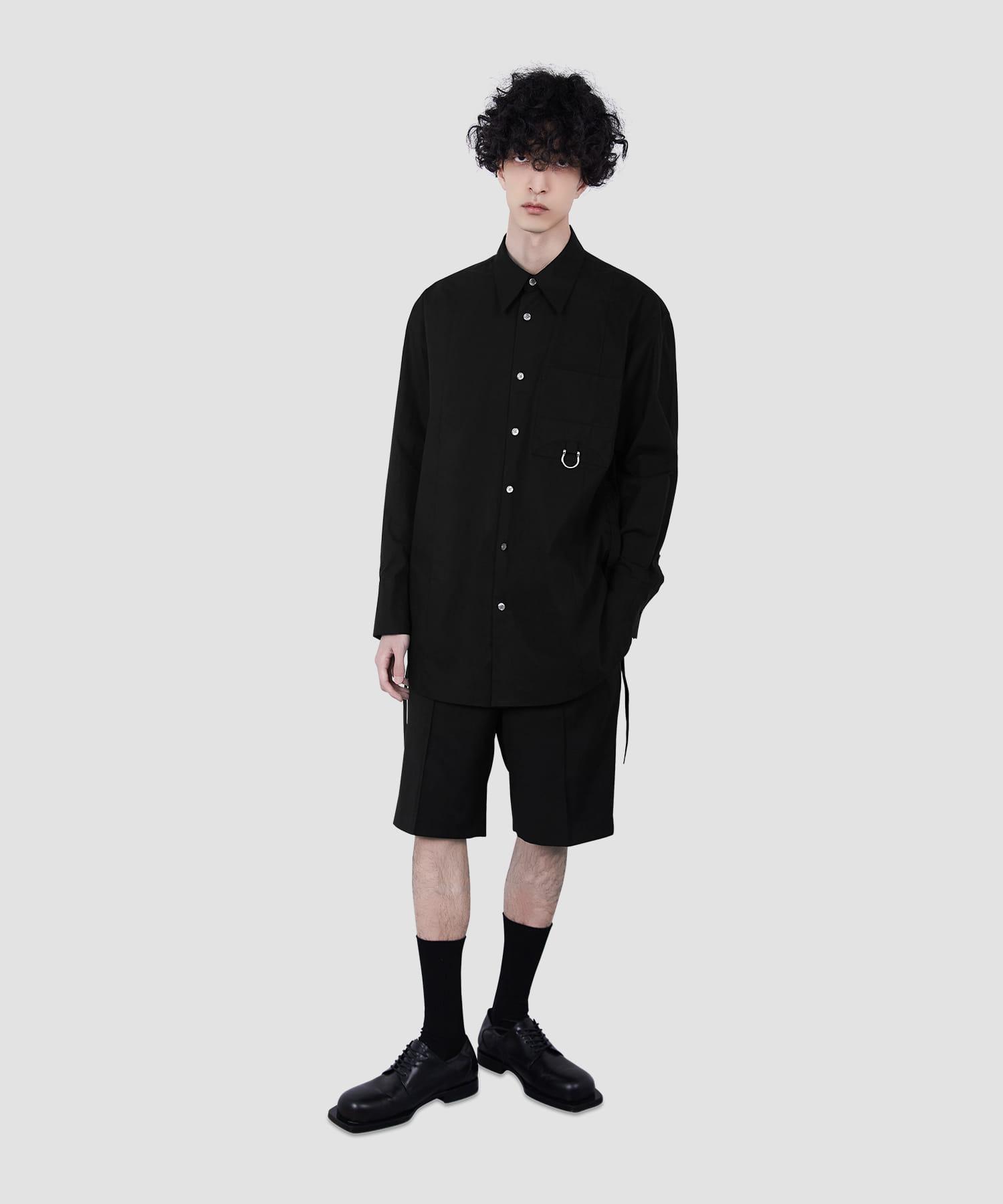 블랙 메탈후프 포켓 셔츠