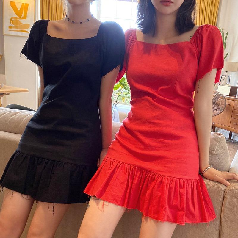 Never Been So Cute Linen Puff Dress_H57562