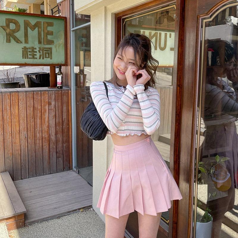 Nine Colors Pleated Mini Skirt