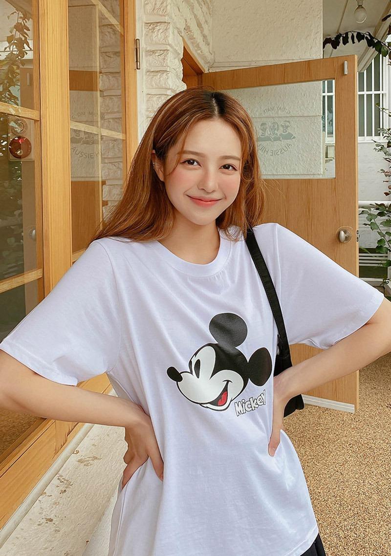 迪士尼印花米奇圆领T恤_H65484