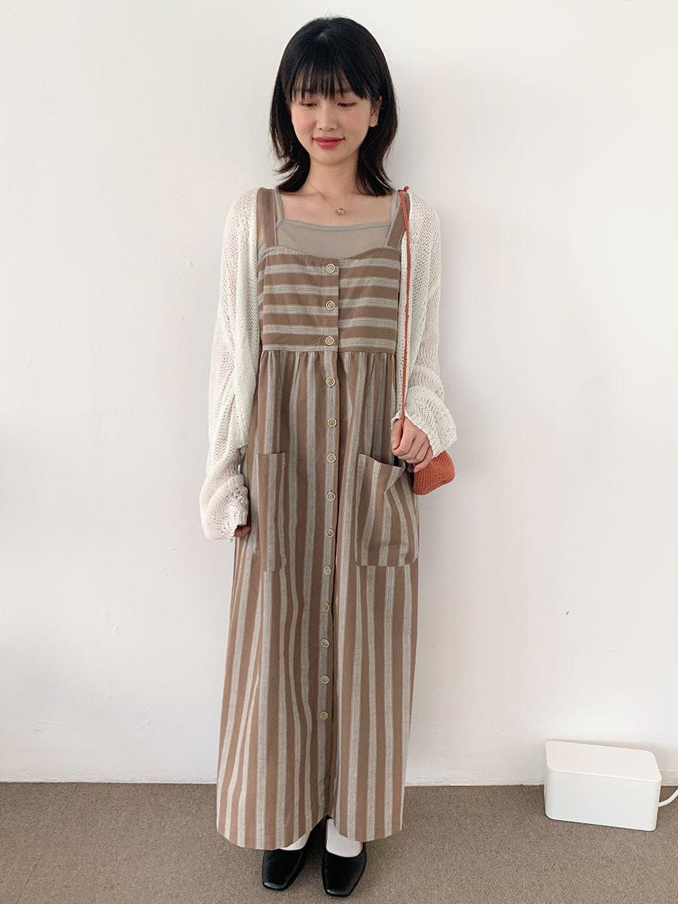 big pocket stripe dress(2color)
