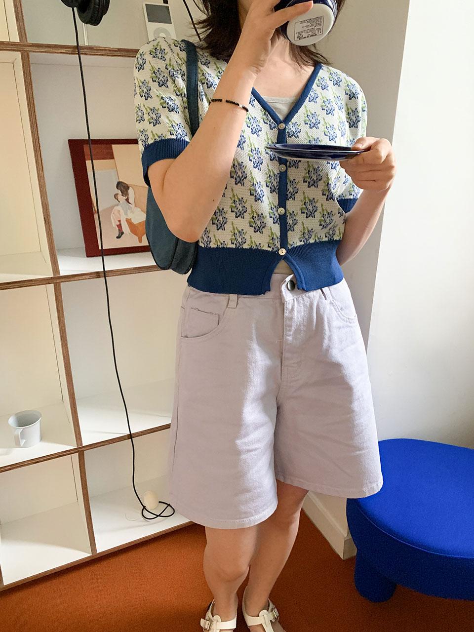 button half cotton pants(3color)