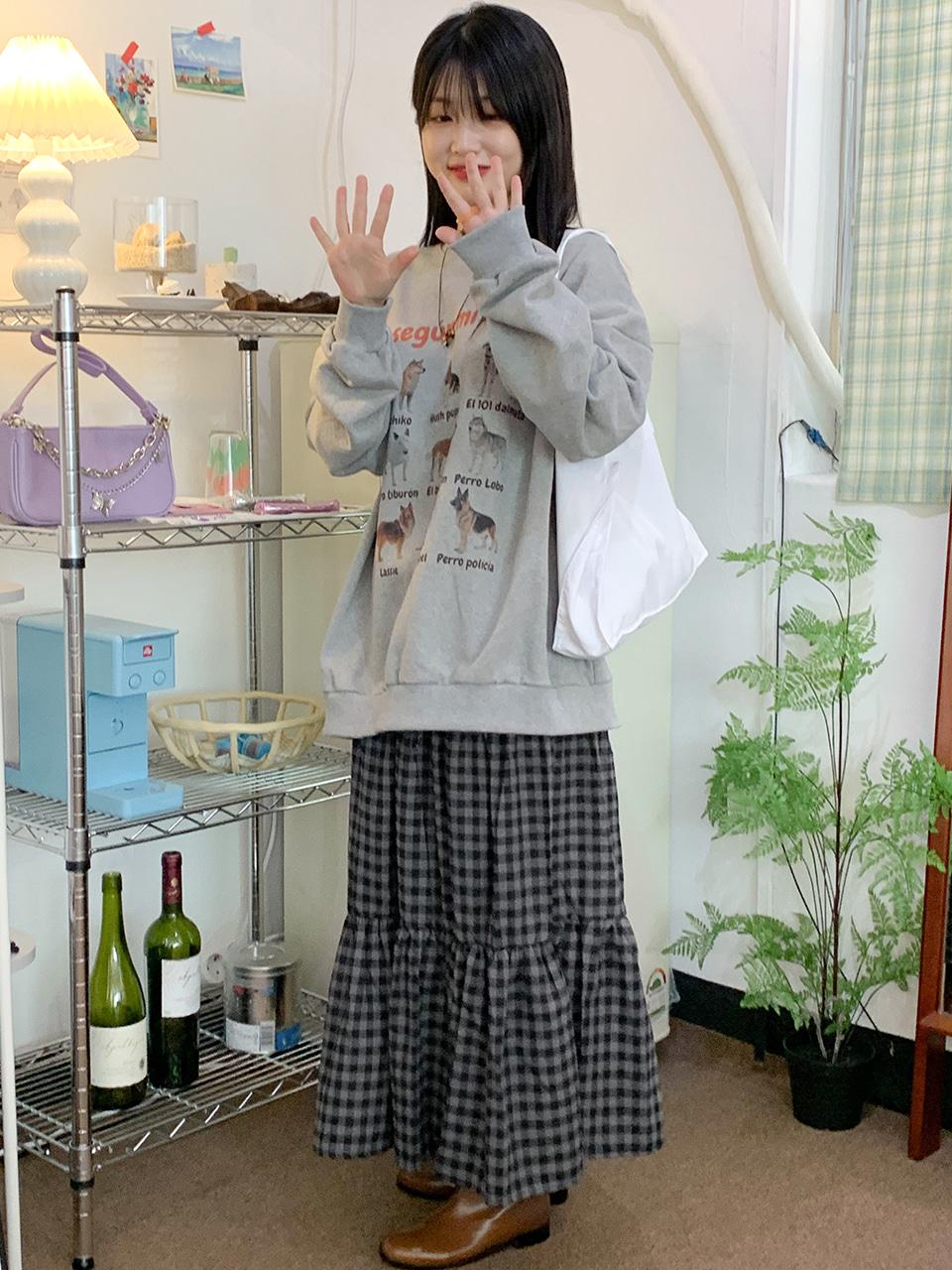 gingham check banding skirt(2color)