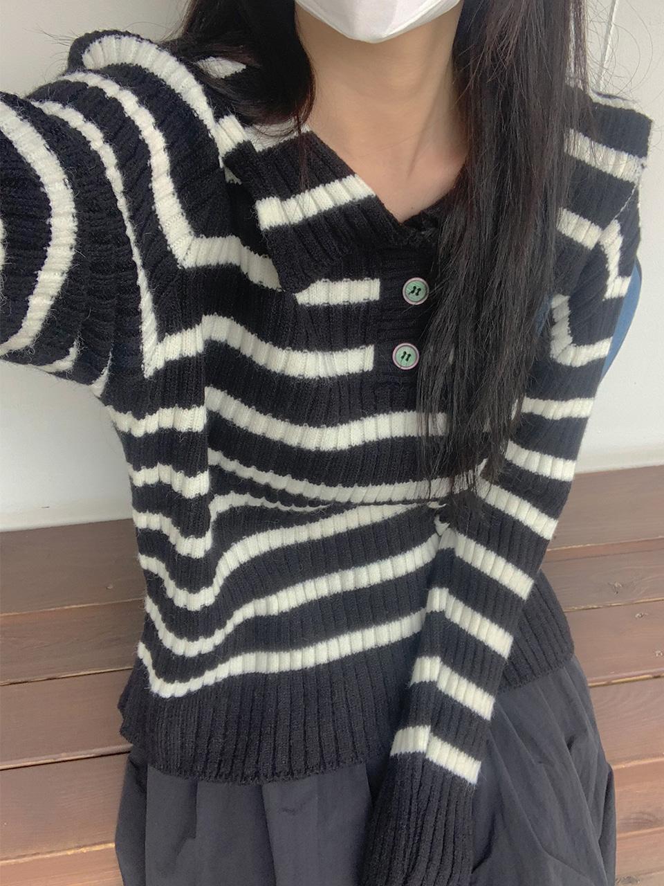 sailor collar stripe knit(2color)