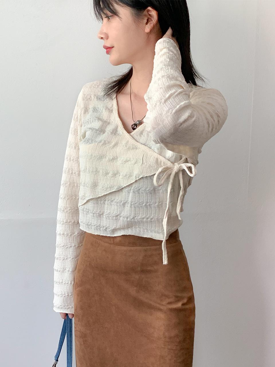 oblique wrap ribbin t-shirt(2color)