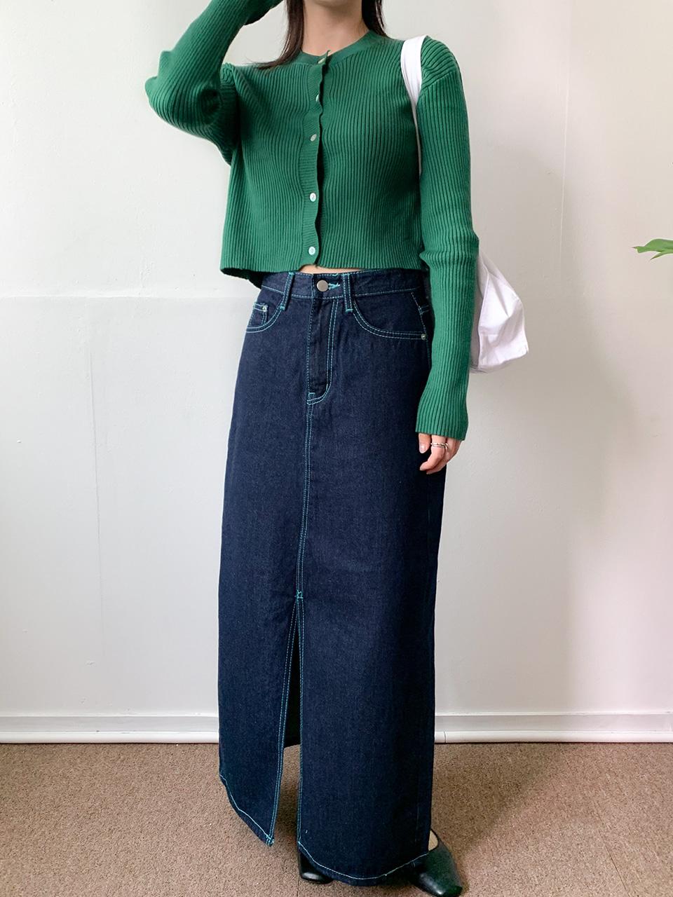 blue stitch slit denim skirt