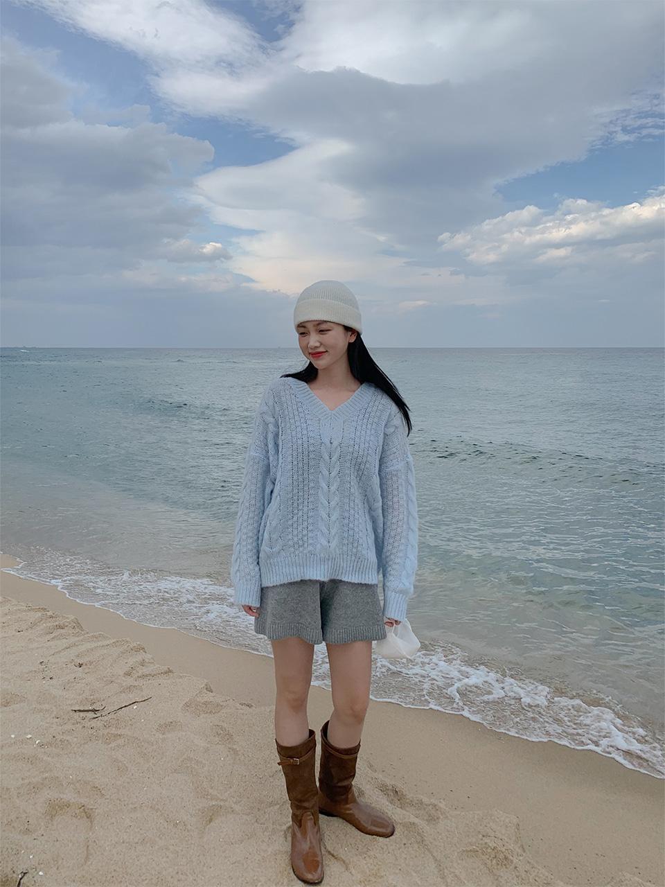 [울50%] banding knit short pants(4color)