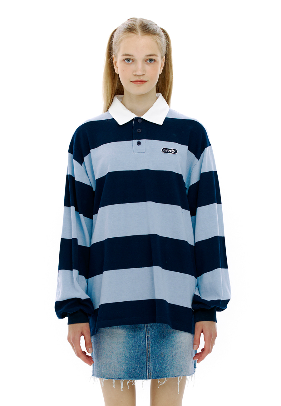 LOGO PATCH RUGBY T-SHIRT[BLUE]