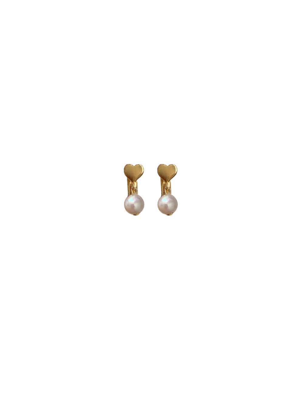Audrey Silver 925 Mini Heart Earrings _ 미니 하트 진주 원터치 귀걸이 라비쉬에