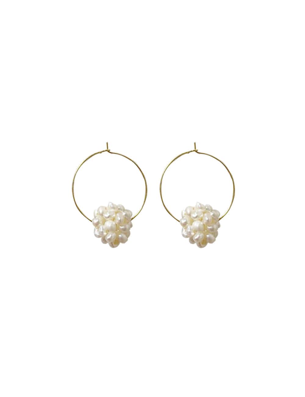 925 Silver Ball Nature Pearl Earrings _ 담수진주 볼 링귀걸이 라비쉬에
