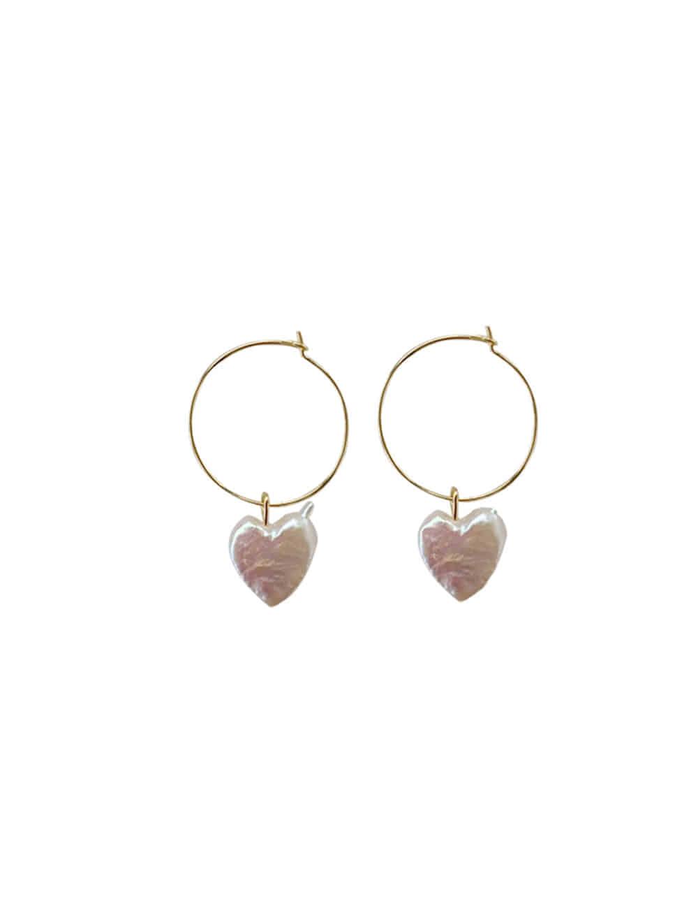 925 Silver Nature Heart Ring Earrings _ 하트 진주 링귀걸이 라비쉬에