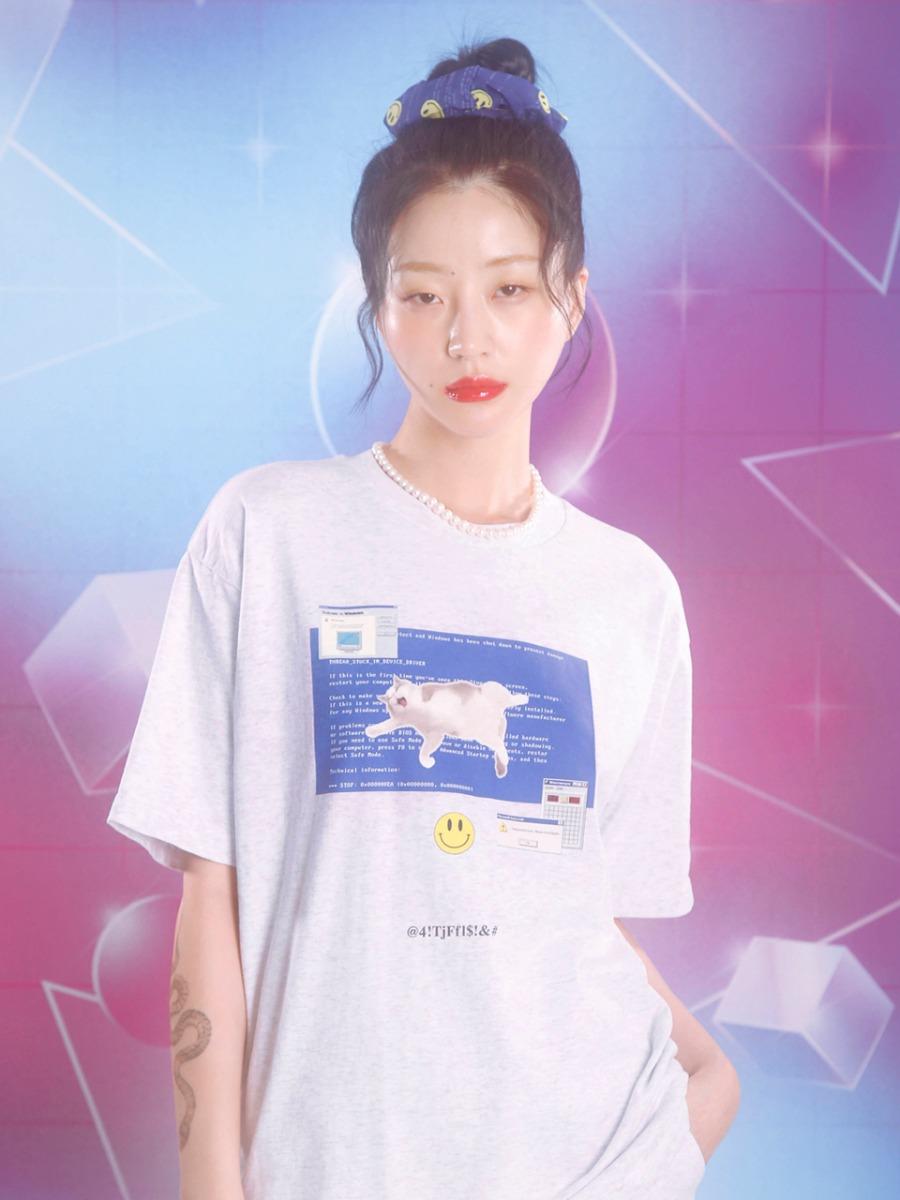 0 1 blue screen t-shirt - LIGHT GREY