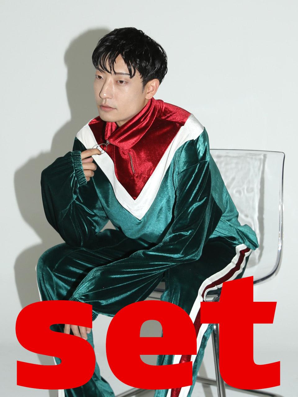 [sold out][SET] 0 3 velvet training top & track pants - green