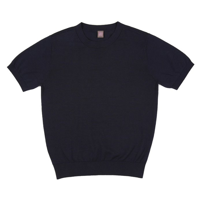 S/S Cotton Knitted Crewneck(SUPIMA)_Navy