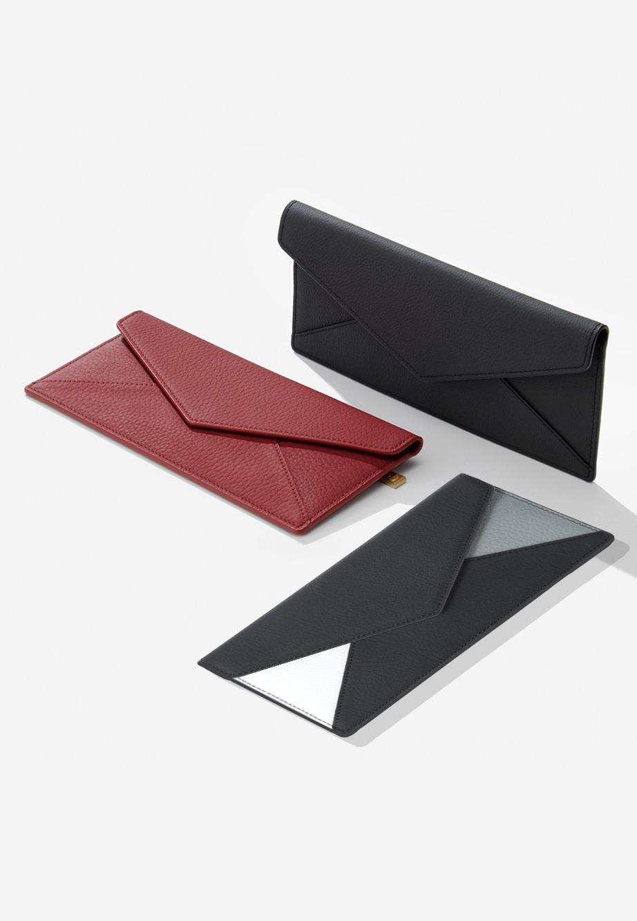 컨티뉴 [영부인지갑] 엔벨로프 장지갑 [패턴블랙,블랙,체리레드]