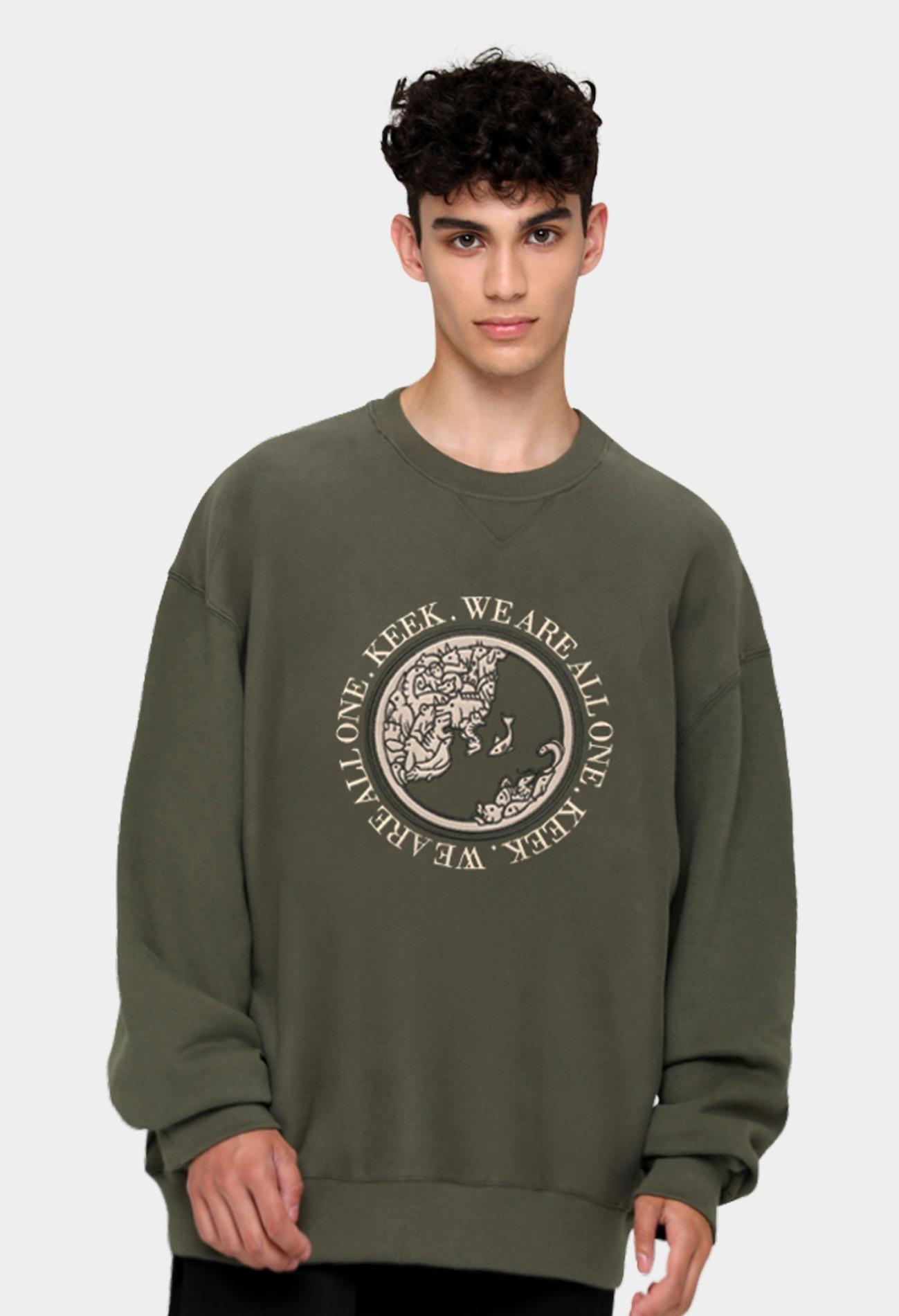 keek [Unisex] Earth Applique Sweatshirts - Khaki 스트릿패션 유니섹스브랜드 커플시밀러룩 남자쇼핑몰 여성의류쇼핑몰 후드티 힙색