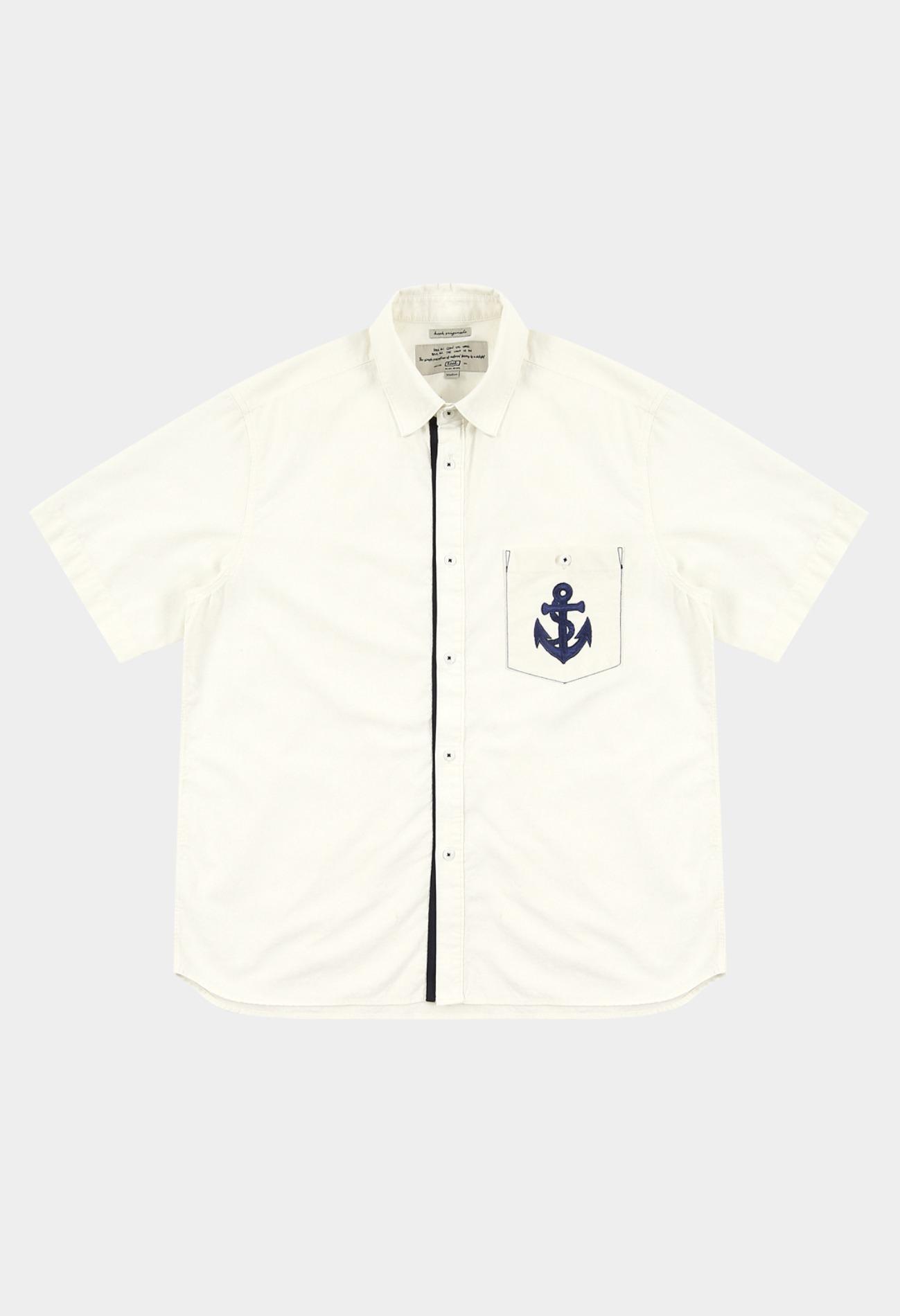keek [Limited Edition] Anchor Wappen Pocket Shirts - Ivory 스트릿패션 유니섹스브랜드 커플시밀러룩 남자쇼핑몰 여성의류쇼핑몰 후드티 힙색