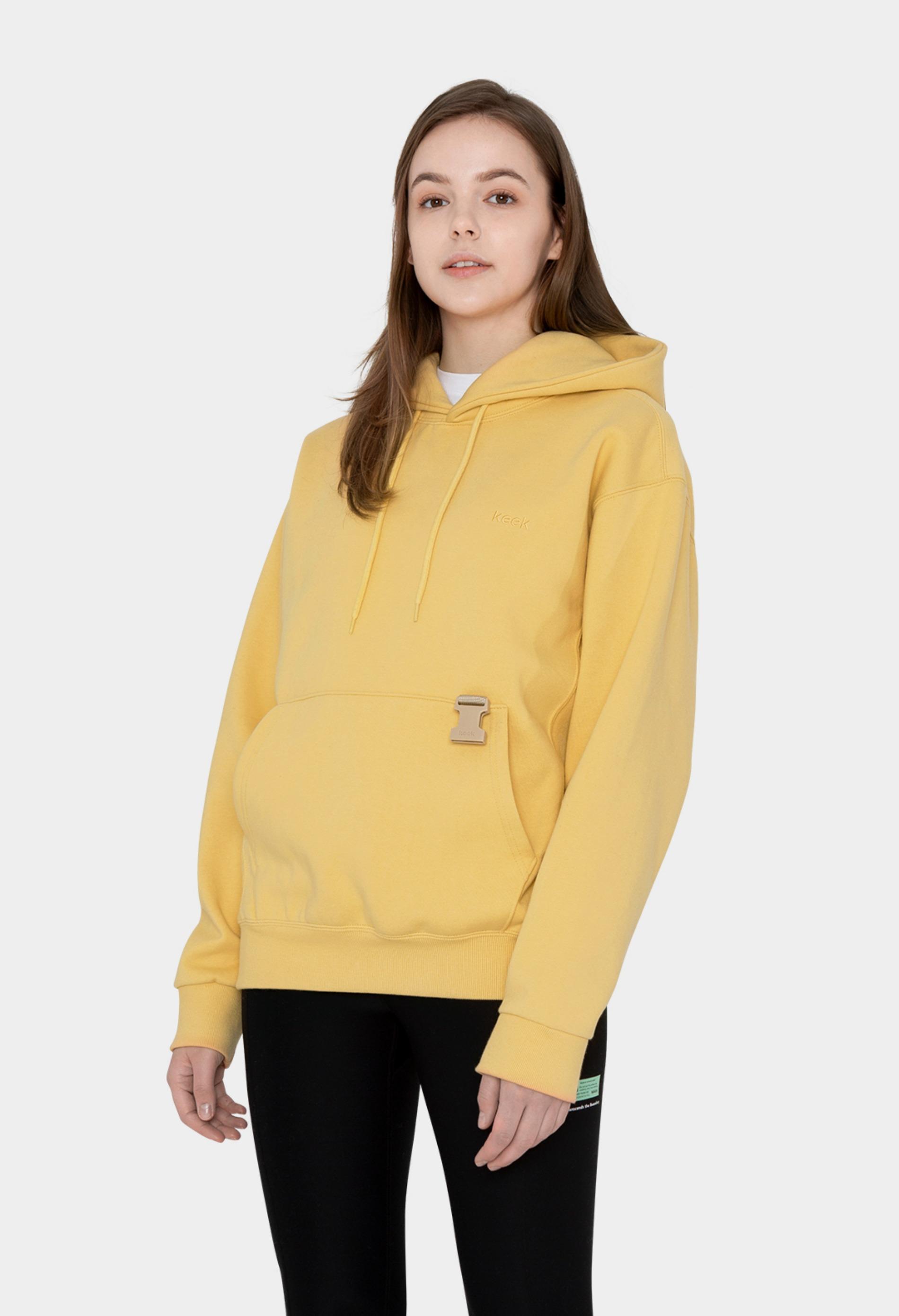 keek [Unisex] 2019 Buckle Hoodie - Yellow 스트릿패션 유니섹스브랜드 커플시밀러룩 남자쇼핑몰 여성의류쇼핑몰 후드티 힙색