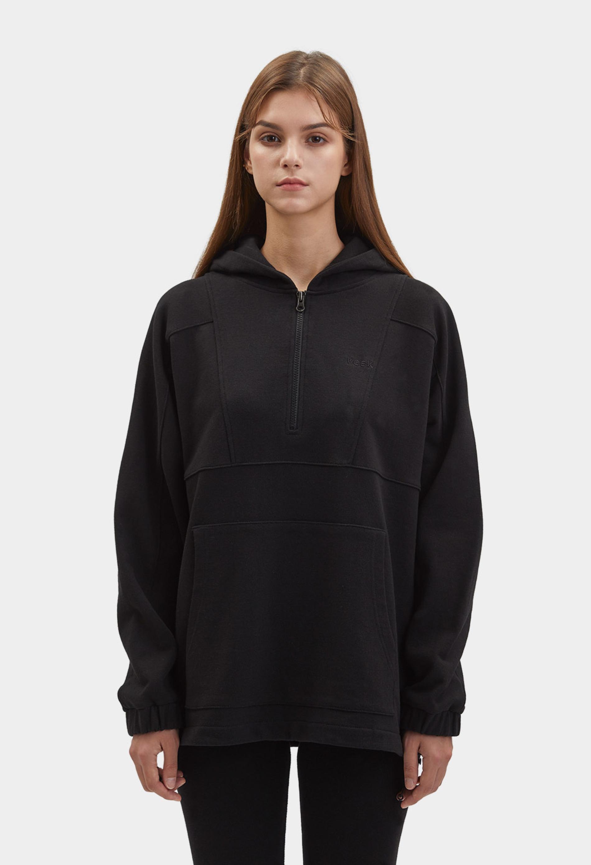 keek [Unisex] Half-Zip Hoodie - Black 스트릿패션 유니섹스브랜드 커플시밀러룩 남자쇼핑몰 여성의류쇼핑몰 후드티 힙색