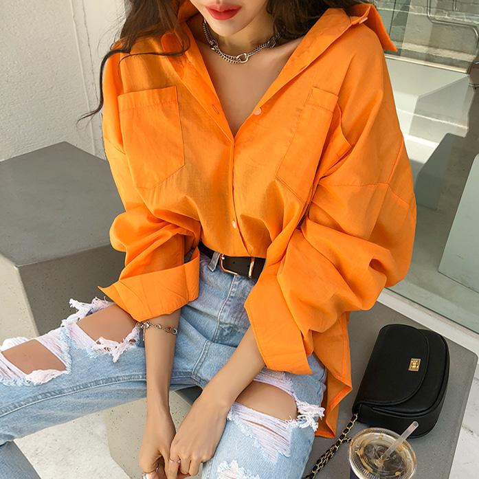 밀리언루즈셔츠_D1BL 스타일리쉬 베이직 여성셔츠 남방 포인트 포켓 여름셔츠 루즈핏 오렌지 핑크 라임 퍼플 화이트 오피스룩 데이트룩 데일리 30대여성쇼핑몰 20대여자쇼핑몰 키작은여자쇼핑몰 여성의류쇼핑몰
