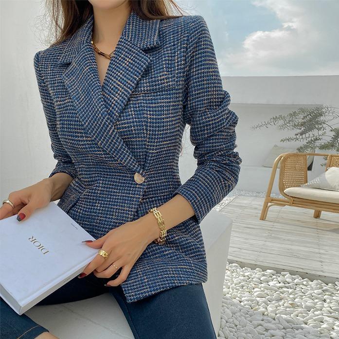 Dabagirl Off-Center Button Tweed Jacket