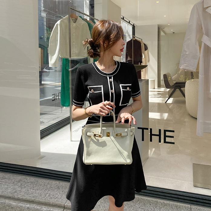 Dabagirl Contrast Trim A-Line Knit Dress