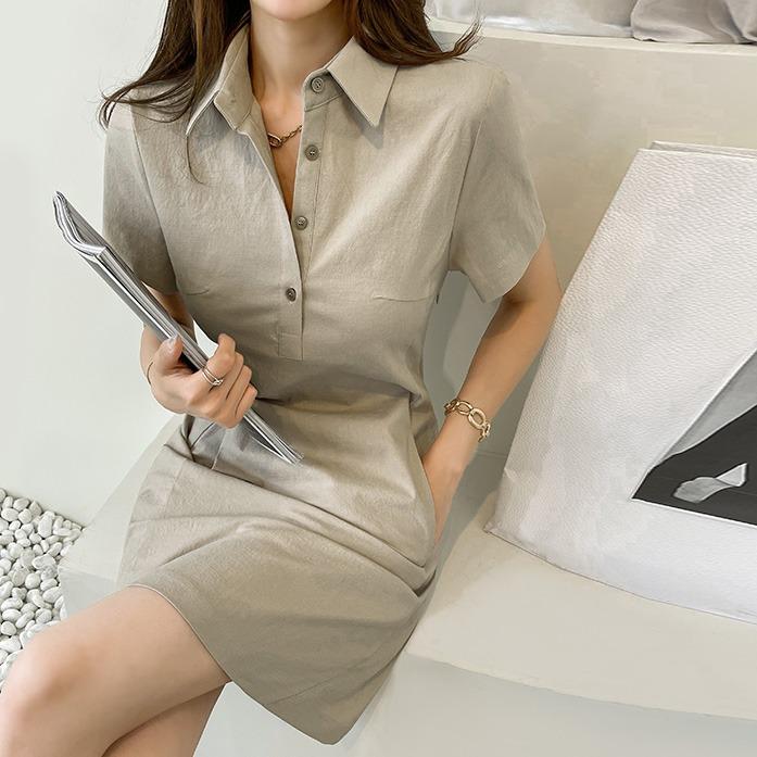 Dabagirl Linen Blend Mini Polo Dress