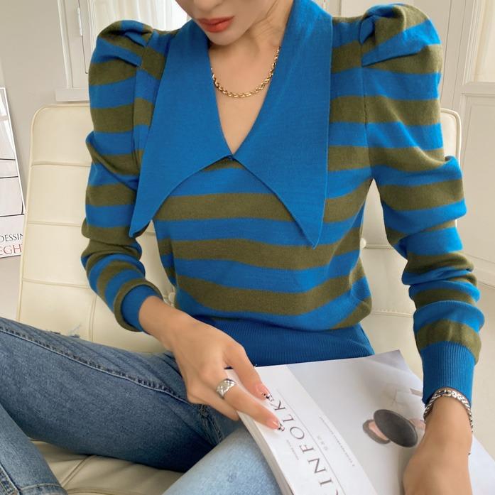 오트츠카라니트_D3KN 30대여성쇼핑몰 20대여자쇼핑몰 키작은여자쇼핑몰 여성의류쇼핑몰 데이트룩 데일리룩 여친룩 탑 상의 니트 패턴 카라니트 단가라 스트라이프 배색 포인트룩 벌룬소매 카키니트 블랙니트