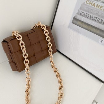Dabagirl Woven Faux Leather Chain Strap Bag