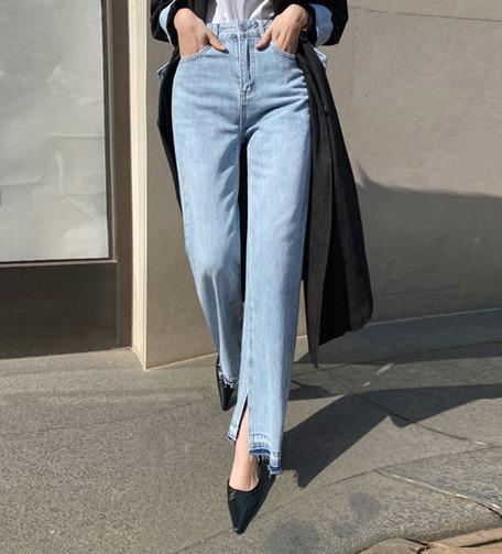 Dabagirl Whiskered Hip Contrast Hem Jeans