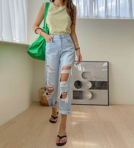 Dabagirl High Rise Distressed Jeans