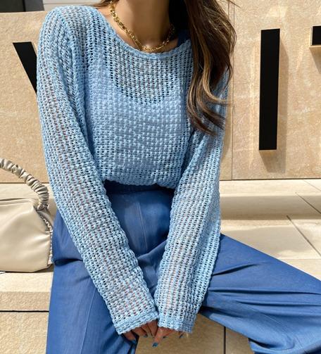 Dabagirl Side Slit Sheer Knit Top