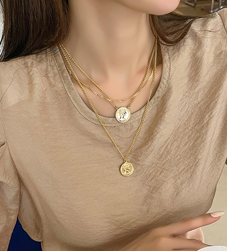 Dabagirl Coin Pendant Three-Layer Necklace