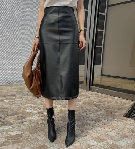 Dabagirl Straight-Cut Leatherette Midi Skirt