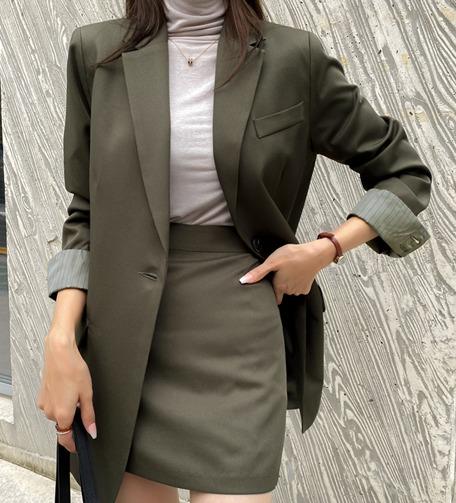 Dabagirl Padded Shoulder Single Button Blazer