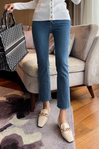 Dabagirl Slim Fit Raw Hem Ankle Jeans
