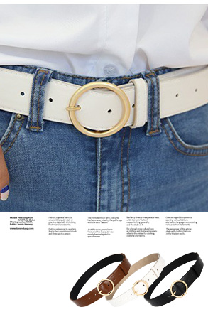 원골드벨트_D1AC 벨트 블랙 아이보리 브라운 원형 심플 베이직 기본 데일리 포인트 여성 여자 일상 모던 시크