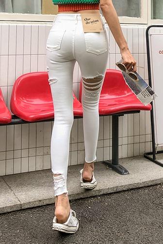 [더데님]보여줘네각선미팬츠_A2DE 스타일리쉬 스키니 아이보리 블랙 l더데님l 헤짐 찢청 트임 빈티지 여성데님 반하이웨스트 데미지진 데이트룩 데일리 30대여성쇼핑몰 20대여자쇼핑몰 키작은여자쇼핑몰 여성의류쇼핑몰