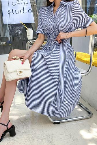 웨이스트원피스_B2OP 30대여성쇼핑몰 20대여자쇼핑몰 키작은여자쇼핑몰 여성의류쇼핑몰 원피스 스트라이프 여성스러운 스타일리쉬 유니크 포인트 매력적인 멋스러운 데일리 캐주얼 데이트룩 핑크 블루