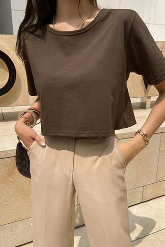 카르백리본탑_D2TA 상의 30대여성쇼핑몰 20대여자쇼핑몰 키작은여자쇼핑몰 여성의류쇼핑몰 데일리룩 데이트룩 여친룩 블랙티셔츠 아이보리티셔츠 브라운티셔츠 반팔 라운드넥 무지
