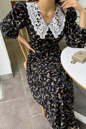 허쉬나염원피스_D3OP 드레스 롱원피스 30대여성쇼핑몰 20대여자쇼핑몰 키작은여자쇼핑몰 여성의류쇼핑몰 플라워원피스 레이스 데일리룩 출근룩 데이트룩 여친룩 패턴 브라운원피스 블랙원피스