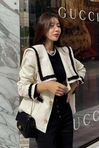 라온티배색자켓_D4OU 데이트룩 여친룩 데일리룩 30대여성쇼핑몰 20대여자쇼핑몰 키작은여자쇼핑몰 여성의류쇼핑몰 아이보리자켓 블랙자켓 고급스러운 포인트룩