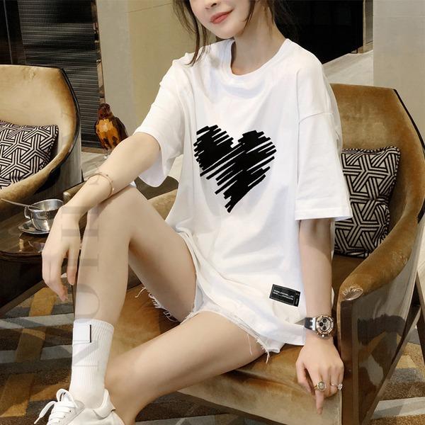 [TO-d658]하트 티셔츠-포인트있는 디자인이 멋스러운 티셔츠, 인기만점하나만으로도 스타일 굿!.