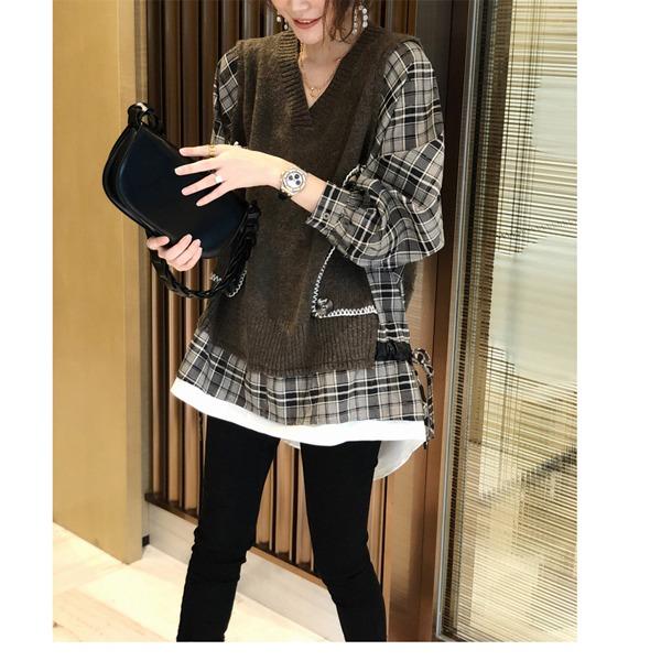 [TO-d718]루소 레이어드탑-( TIME SALE 30%) 주문대폭주♥ 체크 셔츠와 베스트의 레이어드 디자인 입으면 더욱 멋스러워요