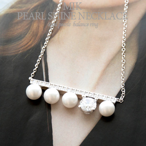 [Mik-AC591] Pearl silver necklace